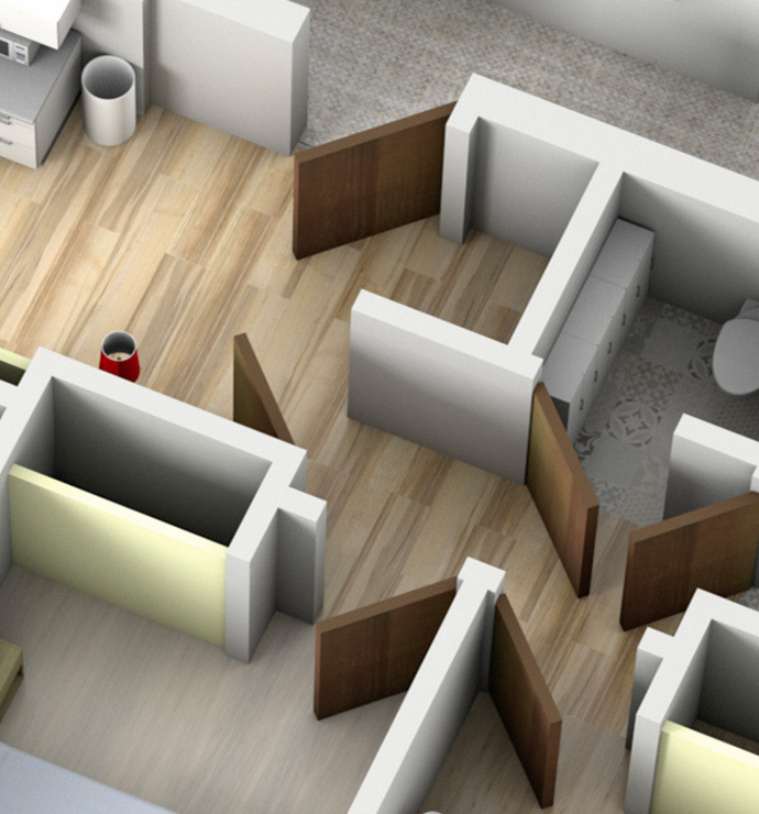 Private rooms: reception, corridors