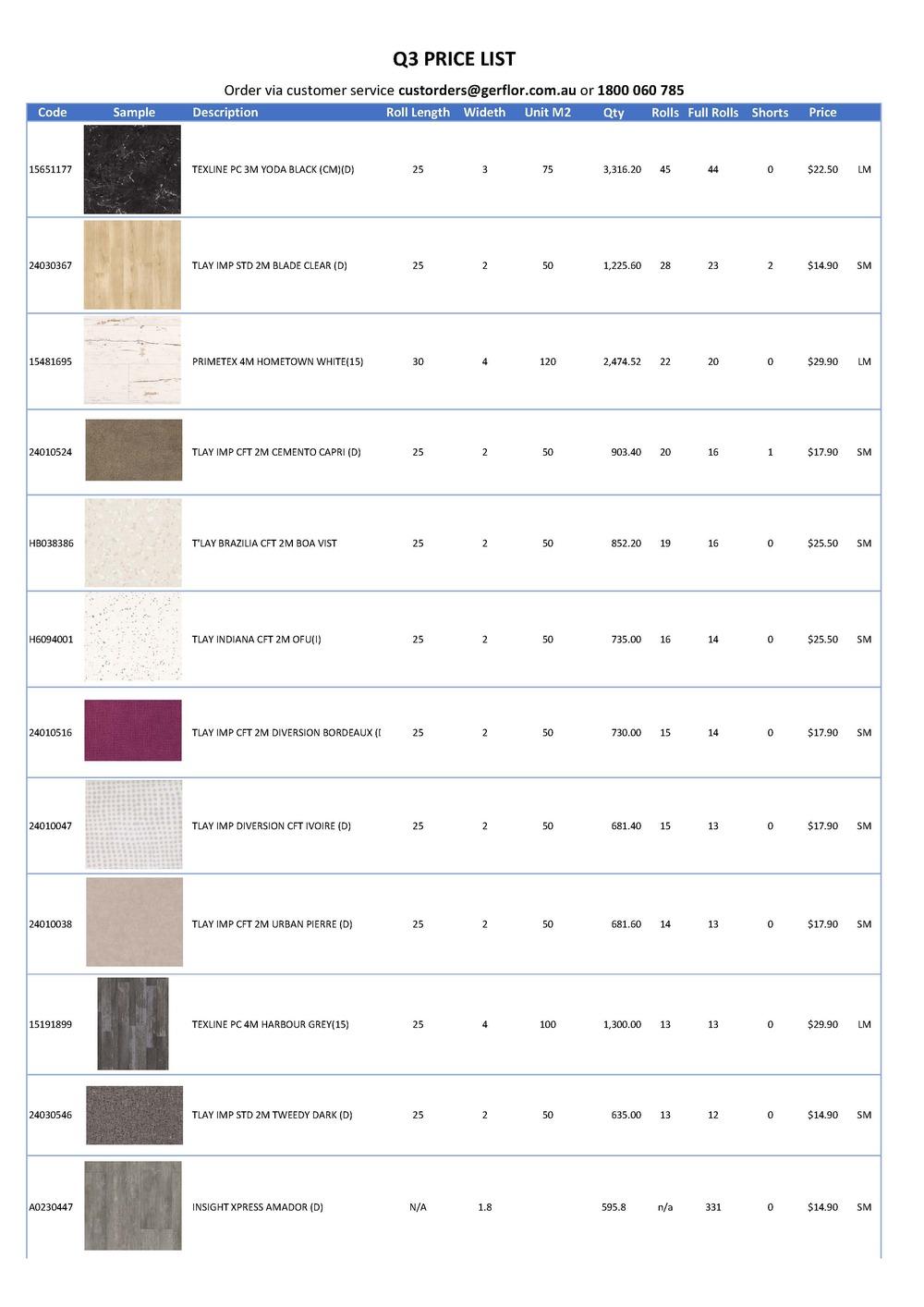 Q3 Price List Page 1